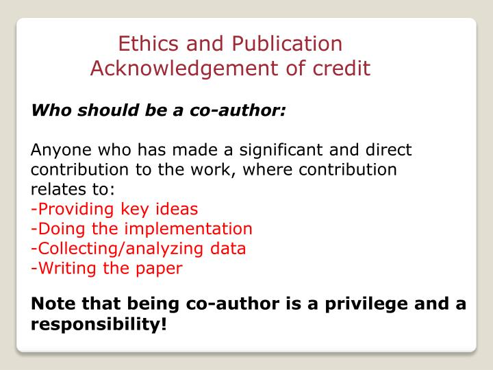 Ethics and Publication