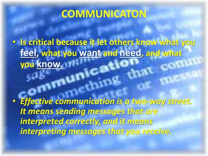 COMMUNICATON