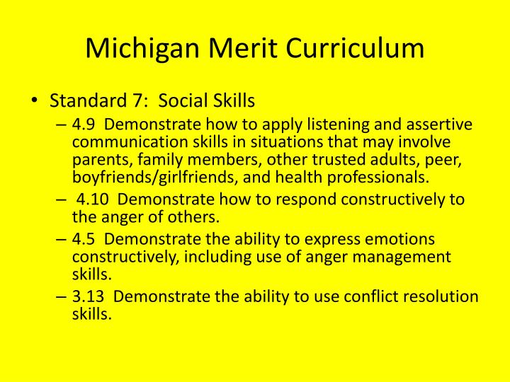 Michigan merit curriculum