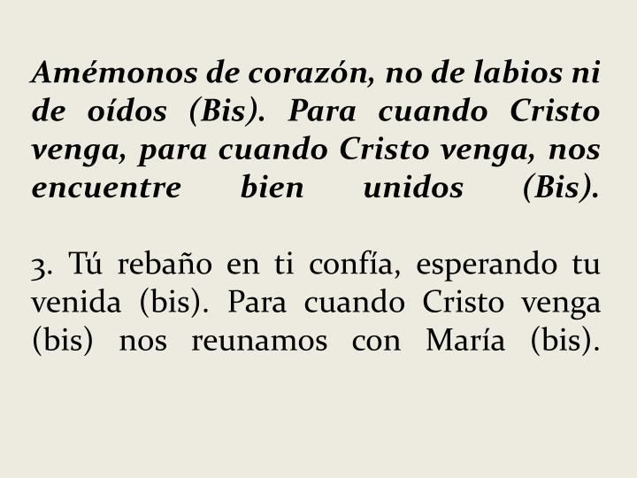Amémonos de corazón, no de labios ni de oídos (Bis). Para cuando Cristo venga, para cuando Cristo venga, nos encuentre bien unidos (Bis).