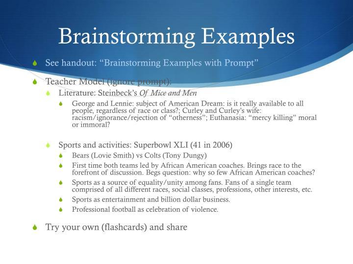 Brainstorming Examples