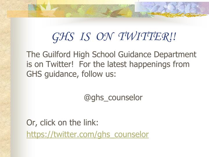 GHS  IS  ON  TWITTER!!