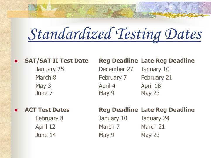 Standardized Testing Dates