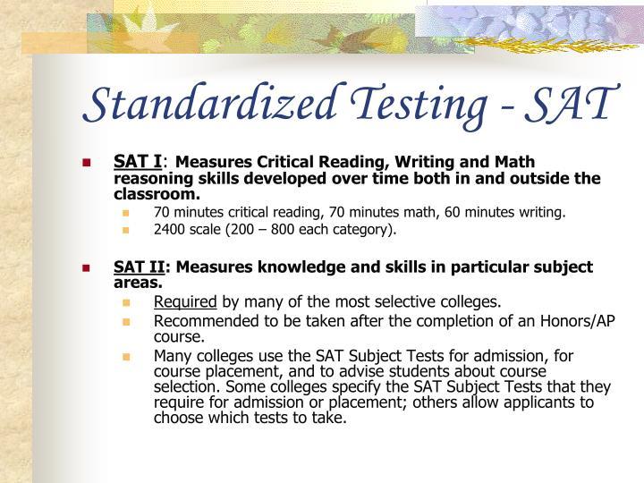 Standardized Testing - SAT