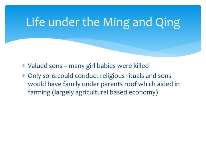 Life under the Ming and Qing