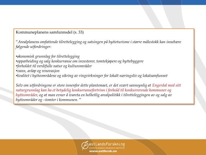 Kommuneplanens samfunnsdel (s. 33)