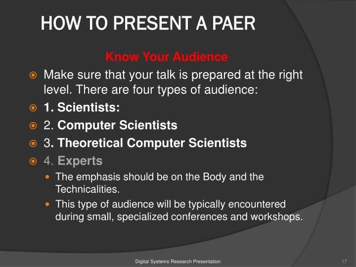HOW TO PRESENT A PAER