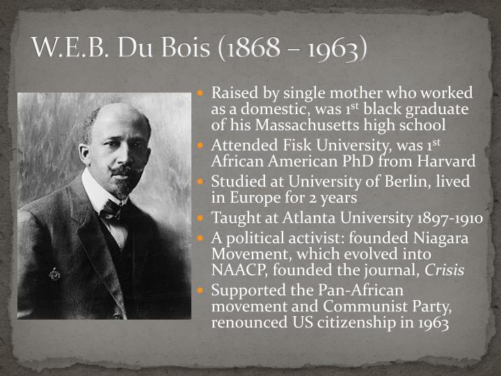 W.E.B. Du Bois (1868 – 1963)