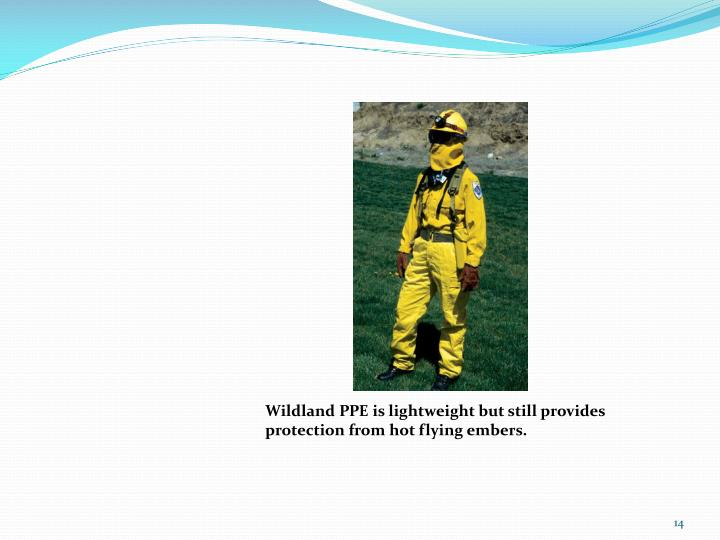 Wildland PPE is lightweight but still provides protection from hot flying embers.