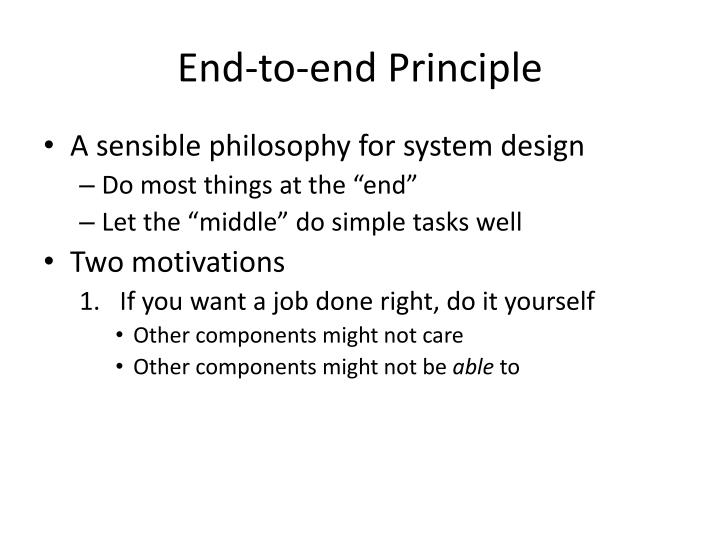 End-to-end Principle