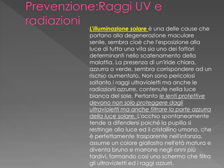 Prevenzione:Raggi UV e radiazioni