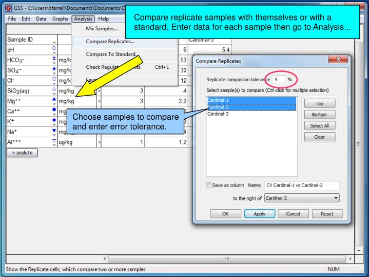 Compare replicate samples with themselves or with a