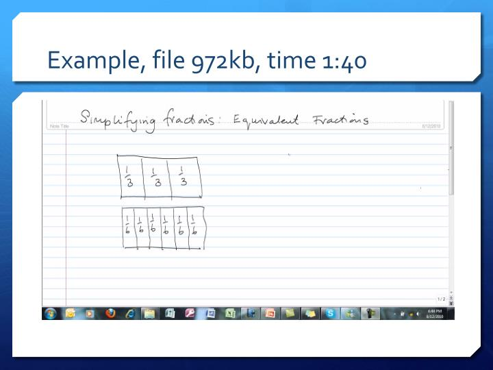 Example, file 972kb, time 1:40