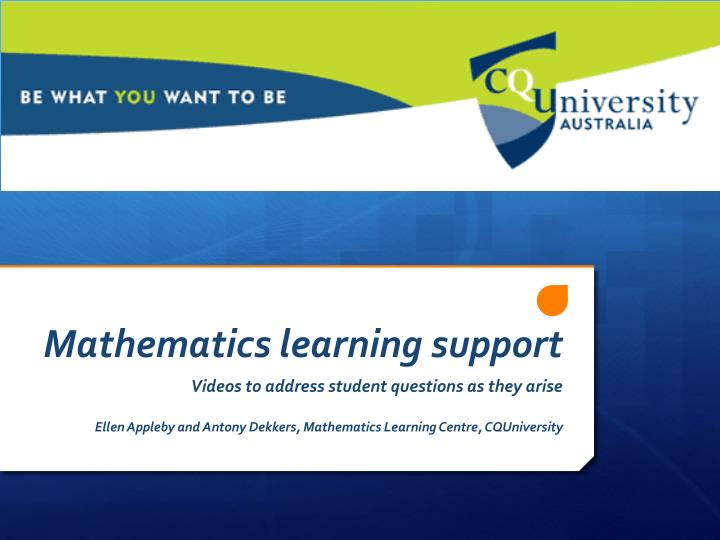 Mathematics learning support