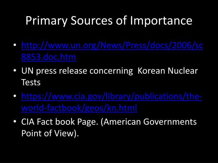 Primary Sources of Importance