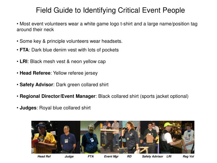 Field Guide to Identifying Critical Event People