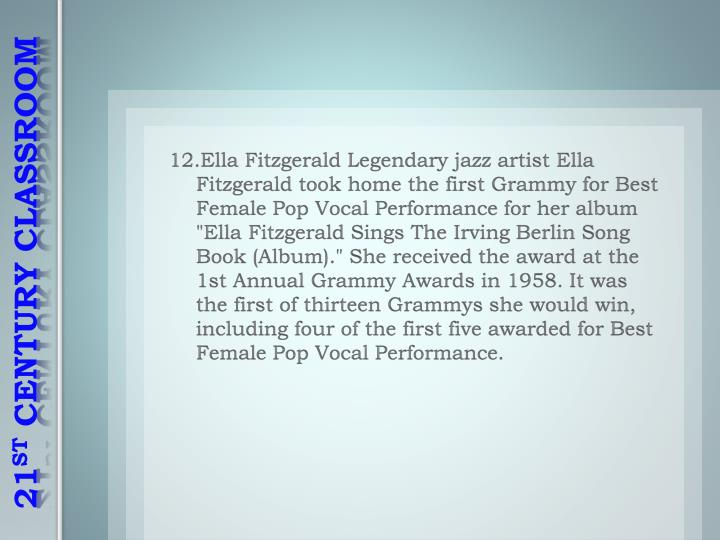 "12.Ella Fitzgerald Legendary jazz artist Ella Fitzgerald took home the first Grammy for Best Female Pop Vocal Performance for her album ""Ella Fitzgerald Sings The Irving Berlin Song Book (Album)."" She received the award at the 1st Annual Grammy Awards in 1958. It was the first of thirteen Grammys she would win, including four of the first five awarded for Best Female Pop Vocal Performance."