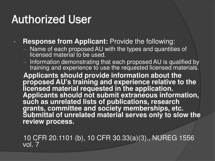 Authorized User