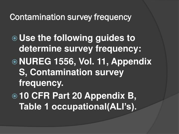 Contamination survey frequency