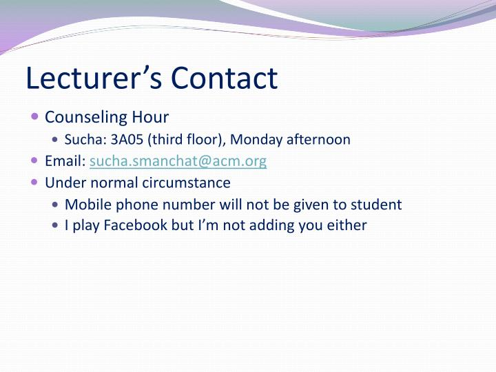 Lecturer's Contact