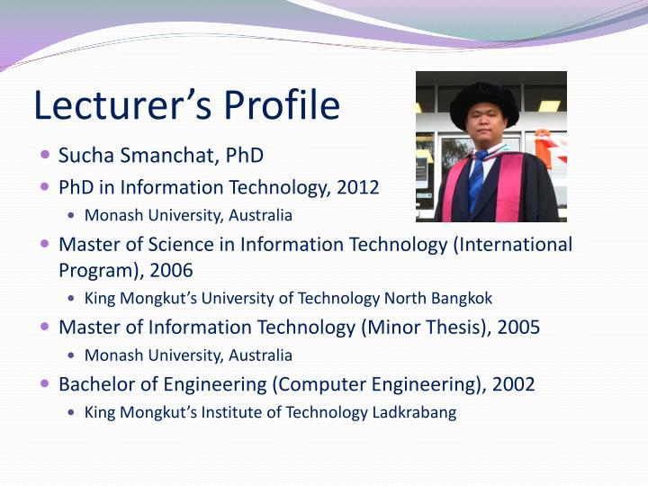 Lecturer's Profile