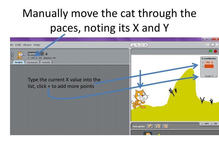 Manually move the cat through the paces, noting its X and Y