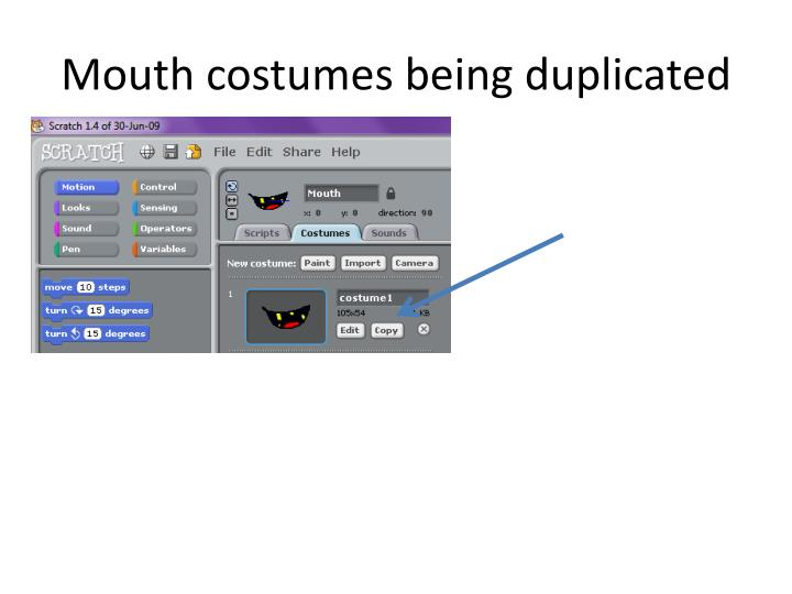 Mouth costumes being duplicated