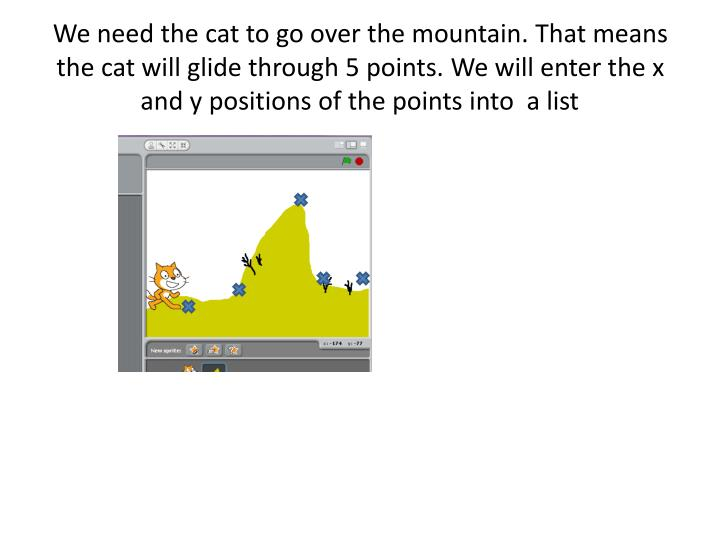 We need the cat to go over the mountain. That means the cat will glide through 5 points. We will enter the x and y positions of the points into  a list