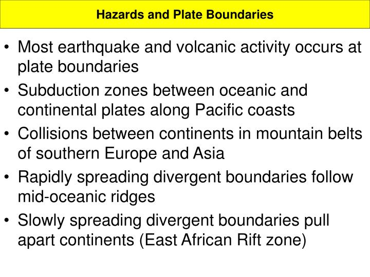 Hazards and Plate Boundaries