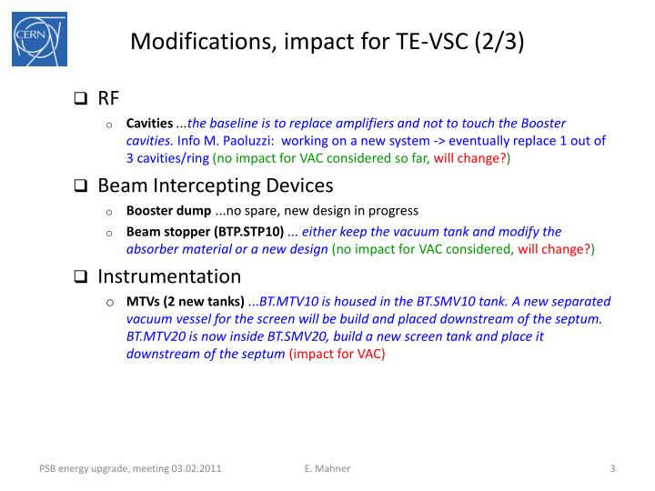 Modifications, impact for TE-VSC (2/3)