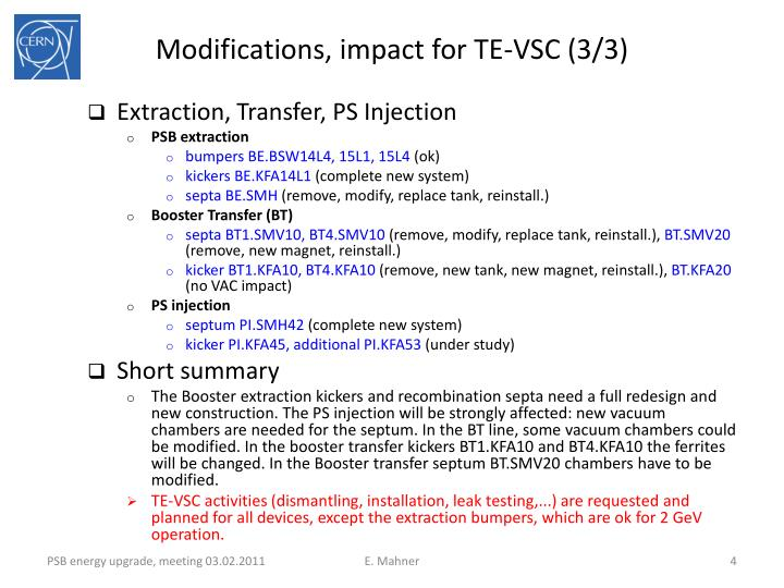 Modifications, impact for TE-VSC (3/3)
