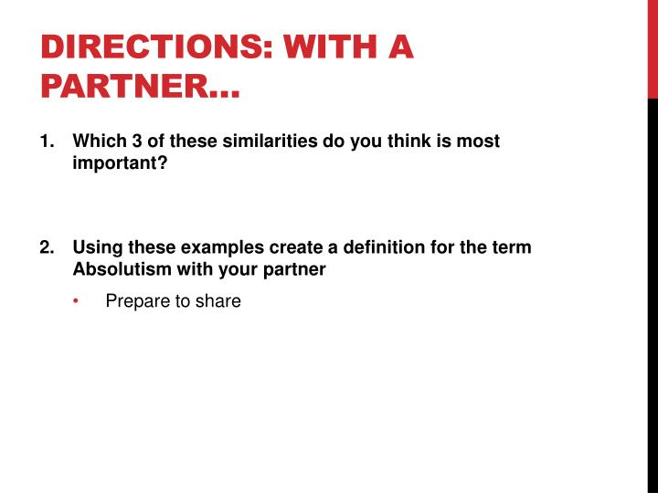 Directions: with a partner…