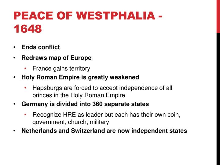 Peace of Westphalia - 1648
