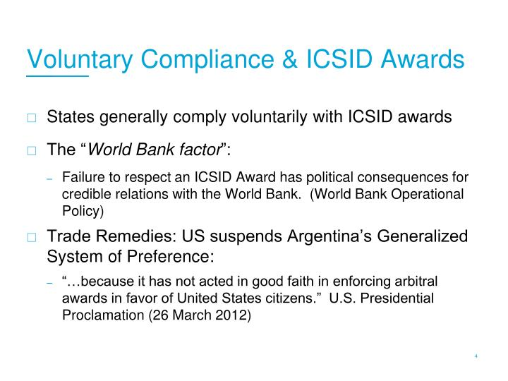 Voluntary Compliance & ICSID Awards