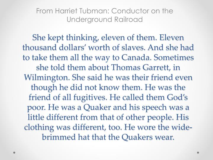 From harriet tubman conductor on the underground railroad