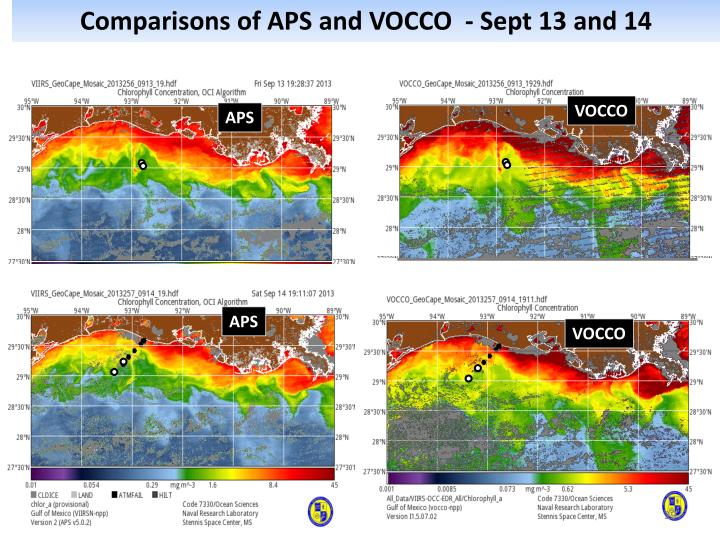 Comparisons of APS and VOCCO  - Sept 13 and 14