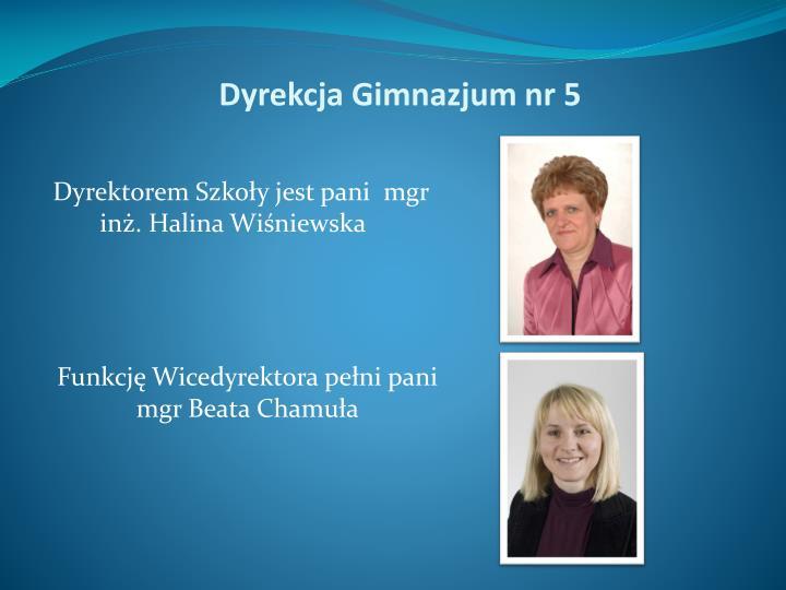 Dyrektorem Szkoły jest pani  mgr inż. Halina Wiśniewska