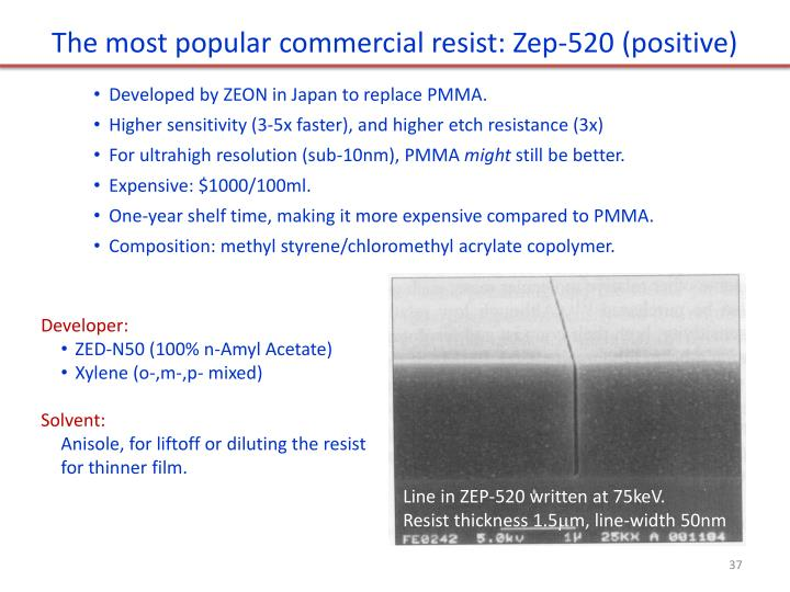 The most popular commercial resist: Zep-520 (positive)