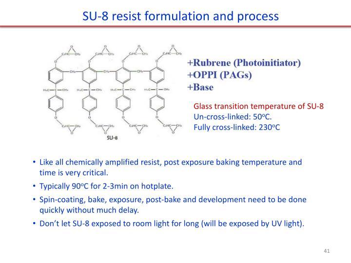 SU-8 resist formulation and process