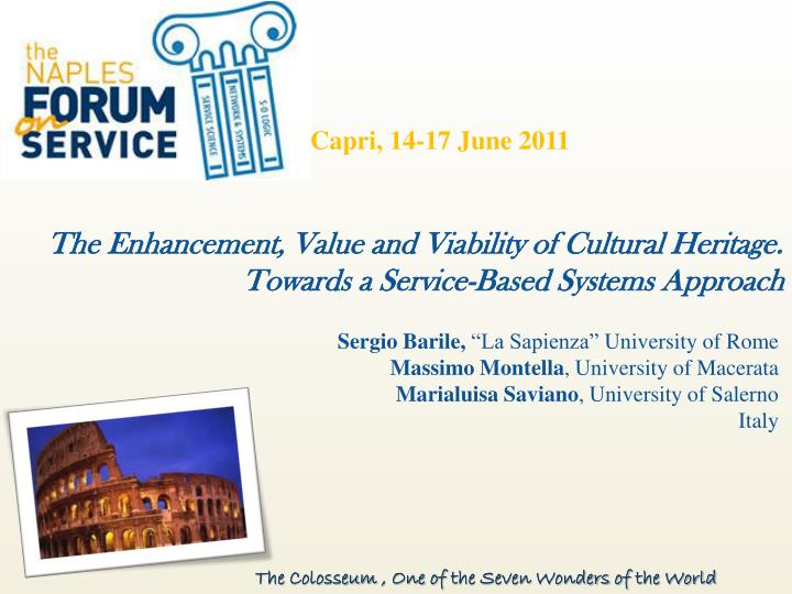 The enhancement value and viability of cultural heritage towards a service based systems approach