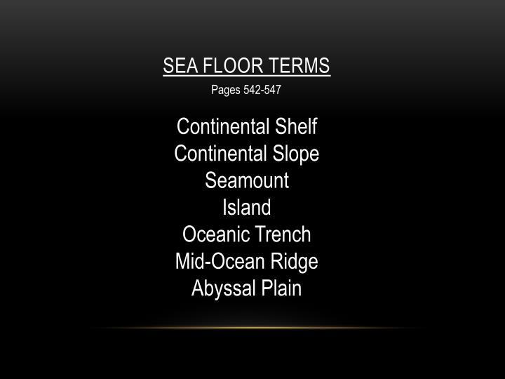 Sea Floor Terms