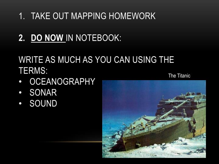 Take out Mapping Homework