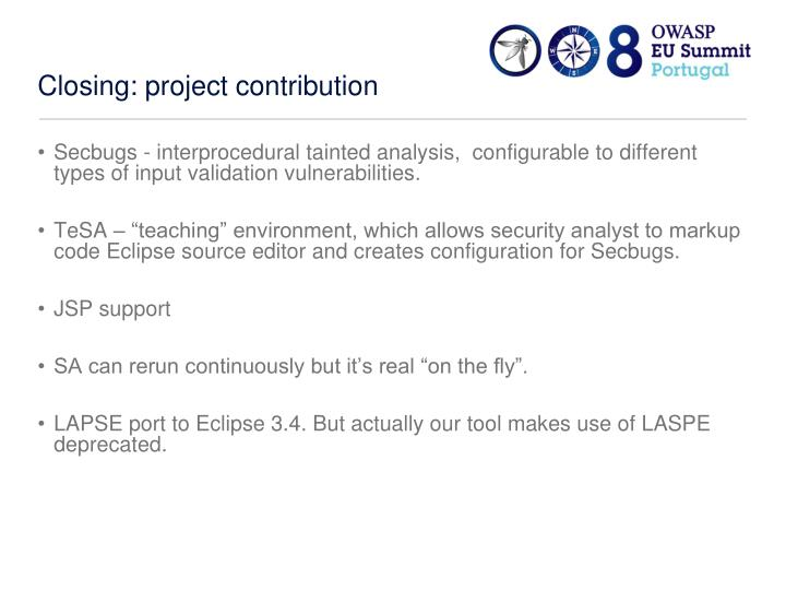 Closing: project contribution