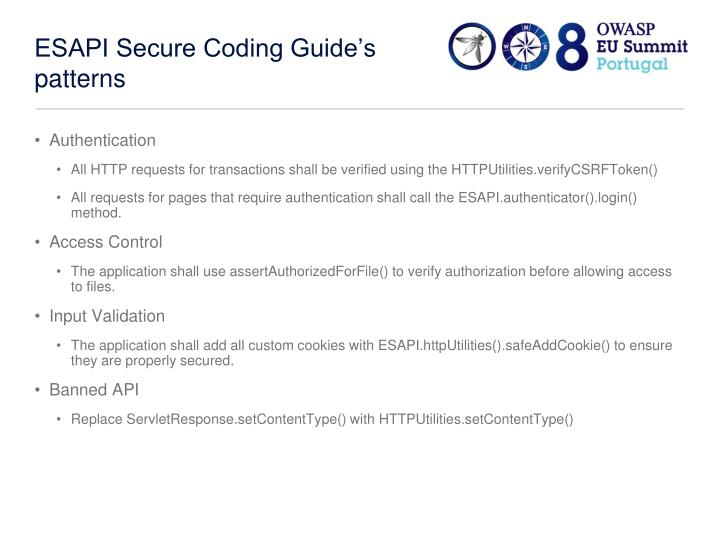 ESAPI Secure Coding Guide's patterns