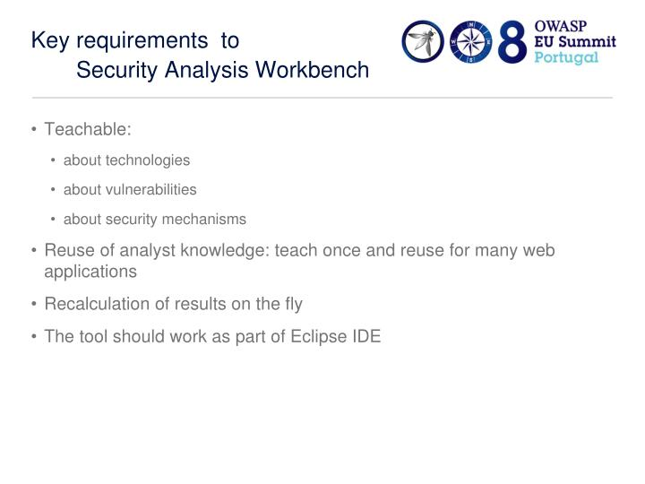 Key requirements  to