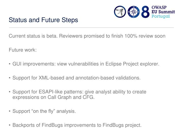 Status and Future Steps