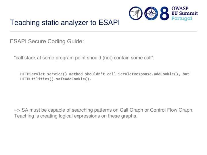 Teaching static analyzer to ESAPI