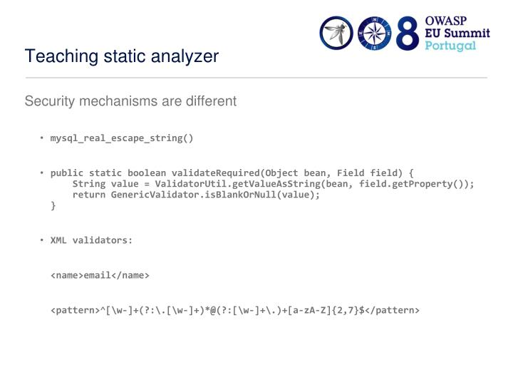 Teaching static analyzer