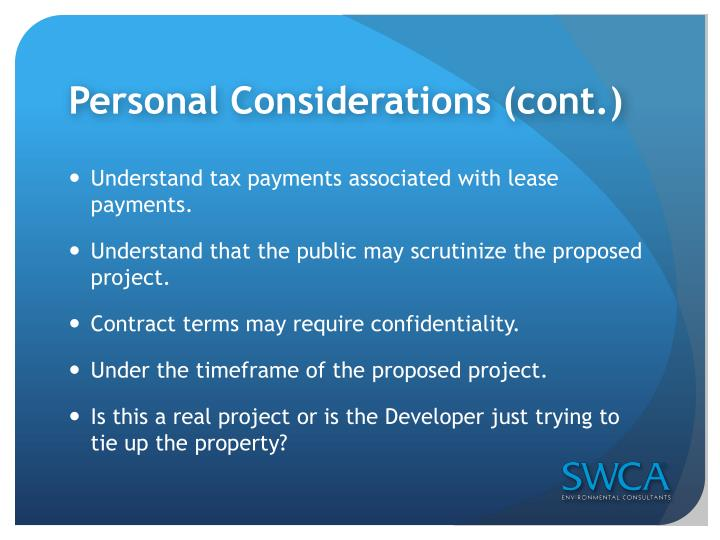 Personal Considerations (