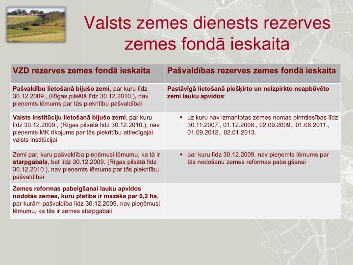 Valsts zemes dienests rezerves zemes fondā ieskaita